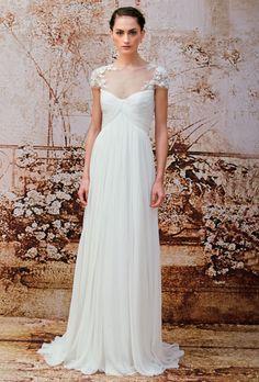 Monique Lhuillier - Fall 2014 - Pleated Chiffon Sheath Wedding Dress with Illusion Neckline | Wedding Dresses Photos | Brides.com