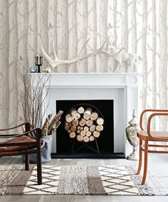 Woodland wallpaper is is climbing the list of hot trends to try. Shop this look.