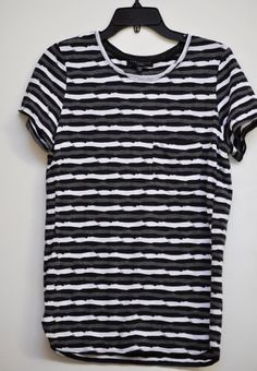 Sanctuary Women Knit Top, Striped, Short Sleeve, Black, Gray & White size S #Sanctuary #KnitTop #Casual
