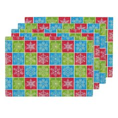 Lamona Cloth Placemats featuring Snowflake Blocks by floramoon_designs…