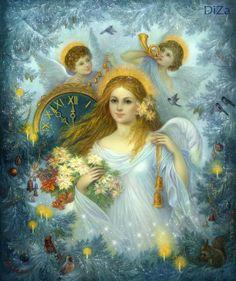 Девушка в белом платье, ангелы,свечи