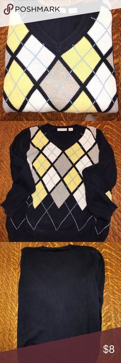 Argyle sweater Navy gray white yellow v neck sweater Liz Claiborne Sweaters V-Necks