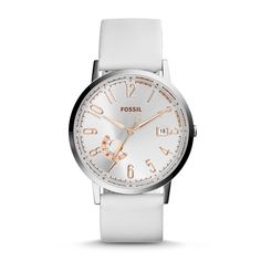#Fossil VINTAGE MUSE Three-Hand Day/Date Leather Watch - White