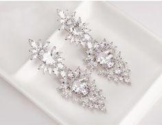 Bridal Earrings Cubic Zirconia Earrings by goddessdesignsgems Prom Earrings, Prom Jewelry, Bridesmaid Earrings, Rhinestone Earrings, Round Earrings, Wedding Earrings, Crystal Earrings, Wedding Jewelry, Silver Earrings