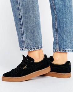 Puma – Klassische Sneaker aus schwarzem Wildleder mit Gummisohle