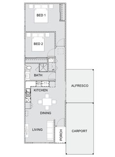Finch Key Features:  Compact and narrow design  Two bedrooms with built in robes  Open plan kitchen, living and dining  All you need for a house guest or downsizing  Low maintenance with modern conveniences