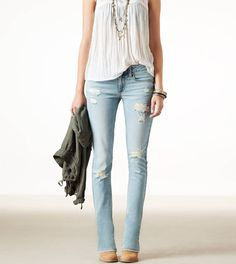 AE Skinny Kick Light Destroy Vintage  $29.99  Light denim + skinny fit = unsure if i can pull these off