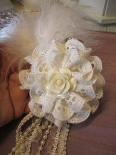 Handmade Shabby Chic Flower-layer 2 rows of eyelet lace trim , add acrylic rose flower  center, hang string pearls , lace and braided gimp
