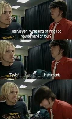 Dave Grohl and Taylor Hawkins OMG this is so funny. Love these boys!