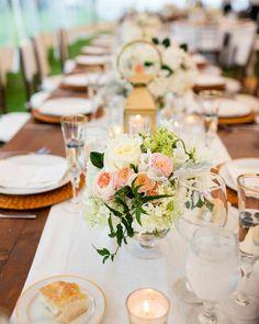 Romantic Southport Wedding at the Newagen Seaside Inn - wedding centerpiece idea. Photo: Jonathan Young Weddings