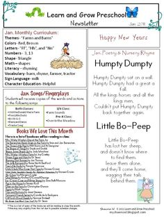 My Shae Noel - All Things Wonderful: January Preschool Newsletter Download- Farms