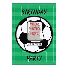 Customizable photo soccer ball party card