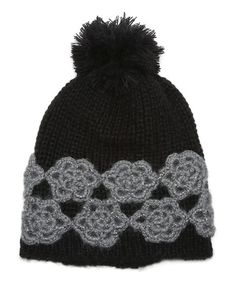 This Black & Gray Floral Pom-Pom Beanie is perfect! #zulilyfinds
