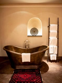 Rejuvenate your mind and body in the luxurious copper free-standing bathtubs. Loft House, Five Star Hotel, Sharjah, Bathtubs, Bait, Old Houses, Home And Living, Copper, Bathroom