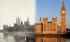 Parliament The Houses of Parliament viewed from the South Bank - in 1865 and present day