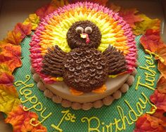 Holiday cake idea with turkey for thanksgiving or November birthday party. Just be Thankful!