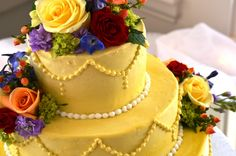 Congratulations Berta and Rodney! - 173 Carlyle House Love the bright cake! :) CAke decoration by #abbysfloraldesigns