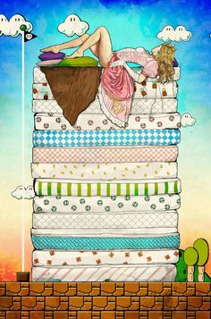 Princess Peach and  the Pea Art Print This artist is so amazing and sexy.