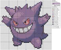 Gengar by Makibird-Stitching Counted Cross Stitch Patterns, Cross Stitch Designs, Cross Stitch Embroidery, Embroidery Patterns, Pokemon Cross Stitch, Pixel Art, Perler Beads, Creation Couture, Crochet Cross