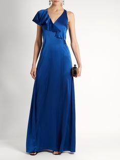 Click here to buy Diane Von Furstenberg Ruffled satin wrap gown at MATCHESFASHION.COM
