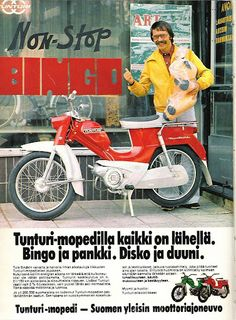 Tunturi mainos Vintage Bikes, Vintage Ads, Old Commercials, Good Old Times, Motor Scooters, Teenage Years, Old Toys, Cars And Motorcycles, Finland