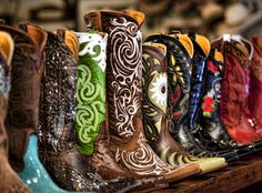 Mmmm, just look at all those great cowboy boots! Loe the green topped ones. #CowboyBoot #CowgirlBoot #WesternStyle