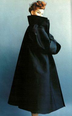 John Galliano duchess satin coat and veil of tulle