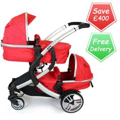 Buy iSafe Me & You Tandem Pram Red online at the best price. UK & ROI delivery. Payment plans available. Baby pram store in Belfast.