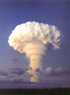 The mushroom cloud from the 'Truckee' nuclear test performed by the U.S. near Christmas Island in 1962.