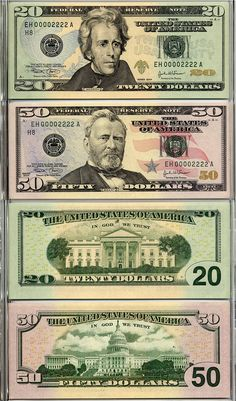 2004 Evolutions Set $50 & $20 Matched Set x 2 St. Louis & Dallas S/N EH & EK 00002222A
