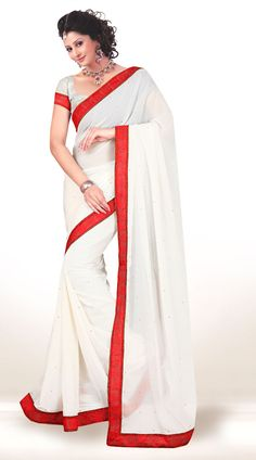 Exclusive White Chiffon Light Work Saree With Red Border