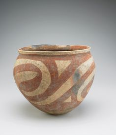 VESSEL WITH ROUND BOTTOM  Earthenware with red pigment 28 x 30 cm Possibly Ban Chiang culture 300 BCE-200 CE, Prehistoric period Origin: Northeast Thailand