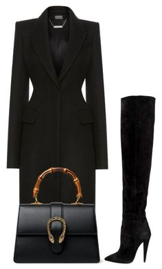 """Untitled #2392"" by cheechchonghigh ❤ liked on Polyvore featuring Alexander McQueen, Yves Saint Laurent and Gucci"
