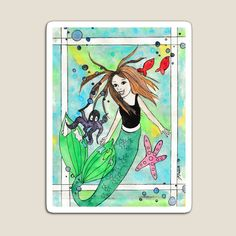 Sticker Designs, Top Artists, Mask For Kids, Vibrant Colors, Magnets, Whimsical, Mermaid, My Arts, Stickers