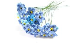 10 crochet flowers 2.5 cm stem 22 cm  Think-of-me Forget me not by Chieu, $12.00