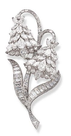 AN ATTRACTIVE DIAMOND BLUEBELL CLIP BROOCH, BY VAN CLEEF & ARPELS Designed as twin pear-shaped and marquise-cut diamond bluebells, enhanced by circular-cuts to the baguette-cut stems and leaves, mounted in platinum, in a Van Cleef & Arpels grey suede case Signed Van Cleef & Arpels, N.Y., no. 29568