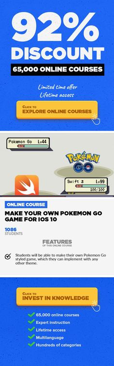 Make Your Own Pokemon Go Game For iOS 10 Mobile Apps, Development #onlinecourses #onlinecoursesdesign #MainCoursesMake your own Pokemon Go styled game and make millions just like Nintendo! Gotta Catch'em All! In this course you will learn how to make your own version of PokemonGo. You will learn how to use MapViews, Annotations, CoreData,and also how to use SpriteKit. We will make everyt...