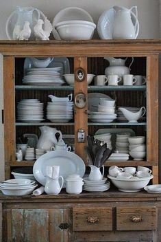 Barn House- china cabinet with assortment of white dishes- I absolutely adore this Vintage Dishes, Vintage Kitchen, Vintage Hutch, Dish Display, Hutch Display, Kitchen Display, Plate Display, Kitchen Storage, Sweet Home