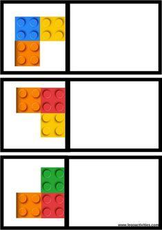 Montessori Math, Kindergarten Activities, Preschool Activities, Symmetry Activities, Space Activities, Lego Therapy, Lego For Kids, Card Patterns, Legos