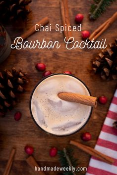 Recipe for a chai spiced bourbon cocktail. It uses Tazo chai tea concentrate, bourbon and ginger ale. It's a great drink for a beginner bourbon drinker. Tea Cocktails, Bourbon Cocktails, Cocktail Recipes, Tazo Chai Tea, Watermelon Lemonade, Tea Latte, Ginger Ale, Spice Mixes, Mixed Drinks