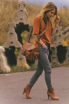 Orange shirt, gray cords, ankle boots, yeah!