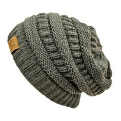 Charcoal Grey Thick Slouchy Knit Oversized Beanie