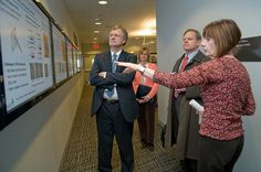 Center for Nanoscale Materials Division Director Amanda Petford-Long (right) leads a tour of the CNM for Idaho National Laboratory Director John Grossenbacher (middle) and INL Deputy Director David Hill on February 18, 2010.