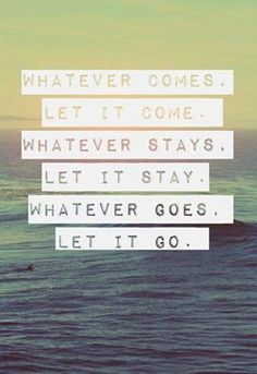 """""""Whatever Comes, Let It Come. Whatever Stays, Let It Stay. Whatever Goes, Let It Go."""""""