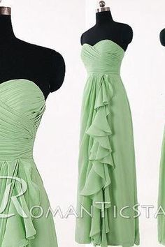 2015 pale green chiffon long bridesmaid dress with Ruffle, A-line sweetheart prom dress under 100, 80s floor-length formal dresses