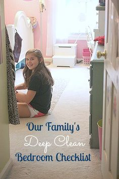 "Checklist for Deep Cleaning Bedrooms - we use this one to help train the kids to know when a room is ""guest"" ready"