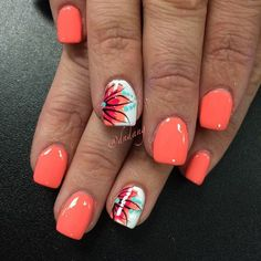 Summer Nail Art 2019 Ideas to give you that invincible shine and confidence - Hike n Dip Exciting Summer nail art for you to get into the vacation mode. I am sure these summer nail designs will make you ready for your summer parties and trips. Bright Summer Nails, Cute Summer Nails, Spring Nails, Cute Nails, Pretty Nails, Bright Coral Nails, Summer Nail Art, Nail Art Ideas For Summer, Summer Shellac Nails