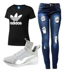"""""""Untitled #14"""" by robynique-patton on Polyvore featuring adidas Originals and Puma"""