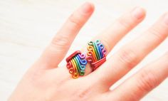 Rainbow Ring by NobiasArt on Etsy Lesbian Gifts, Rainbow Wedding, Bohemian Rings, Lesbian Wedding, Gay Pride, Wire Wrapped Jewelry, Statement Rings, Party Gifts, Wedding Gifts