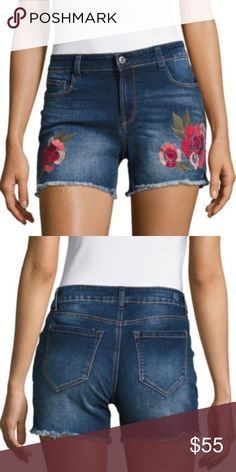 Kensie Embroidered Floral Cutoff Shorts These beauties speak for themselves! Kensie Jeans